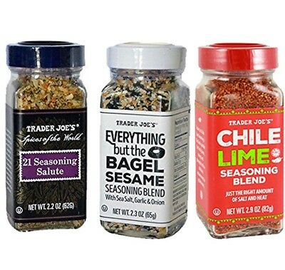 Trader Joes 3Pc Spice Bundle  Everything Bagel  Chile Lime  21 Seasoning Salute