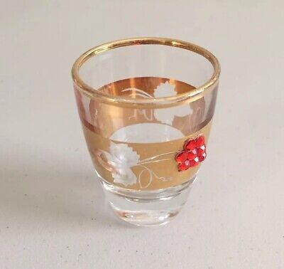 Vintage Glass Liqueur Shot Glass Gold Trim Red Beads Jewels France Shot Glass Beads