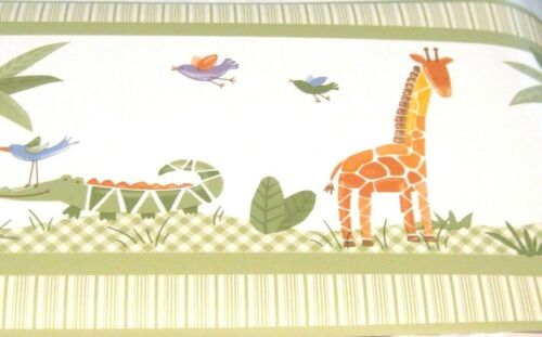 Savannah 30ft Kidsline Wallpaper Border Animals Elephant Giraffe Alligator Green