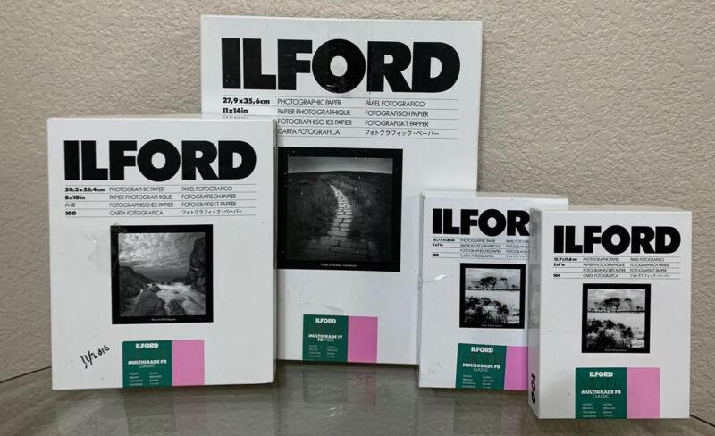 Ilford Photographic Paper Bundle Lot Open Boxes 8x10 11x14 5x7