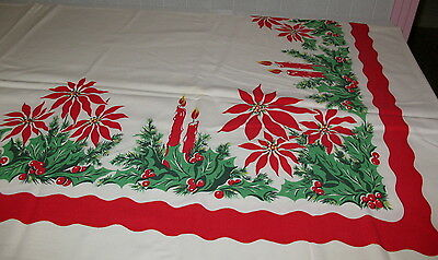 Vintage 1950-60s Cotton Christmas Tablecloth Candles Poinsettias Holly 62x50