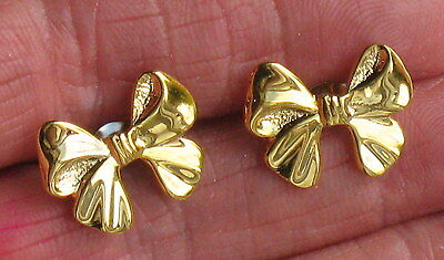VINTAGE STYLE GOLD TONE PLATED BOW PIERCED EARRINGS SURGICAL STEEL POSTS