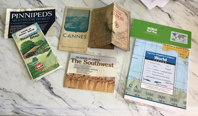 Vintage Lot Of Various Maps Some New Some Old