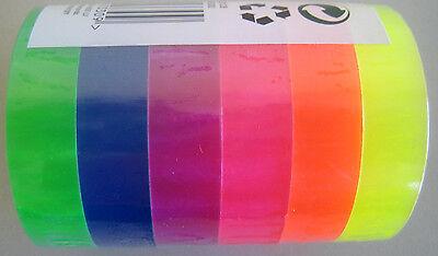 12 Rollen Neon Klebeband Neonklebeband  Kleberollen 33mtr X 12mm