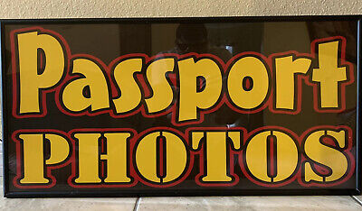 """Vintage Retro Lighted Passport Sign Electric Lights Up ! Size 30"""" Wide 15"""" Tall"""