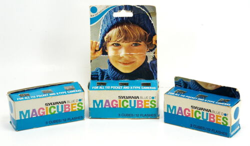 Vintage Sylvania Blue Dot MAGICUBES 3 Packs of 3 Cubes 36 Flashes New Old Stock