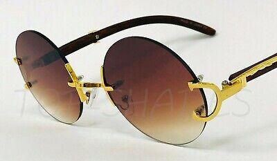 Round Fashion Miami Style Migos  Wood Gold Clear Eyewear Men Women (Miami Blues Shades)