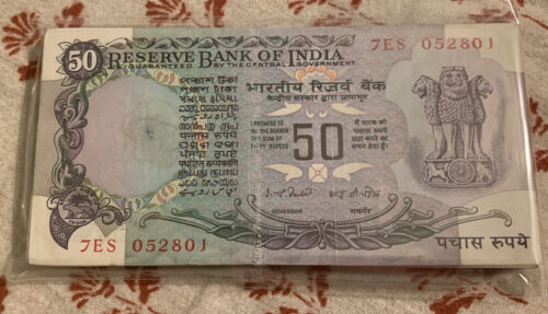 50 RS India Without Flag Purple Color Rare 1980 Series Bundle 100 Serial Notes  - $599.00