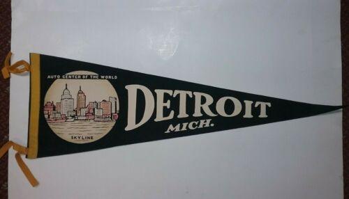 Vintage Detroit Michigan Black Felt Pennant - City Skyline Auto Capital of World