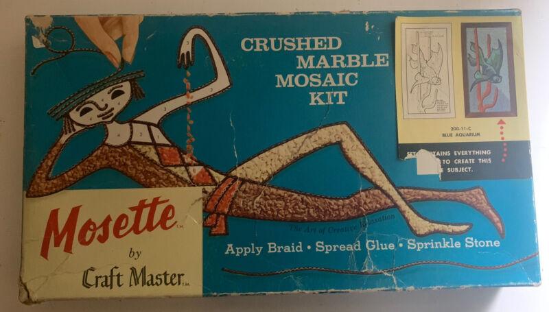 Vintage Mosette Craft Master Blue Aquarium Crushed Marble Mosaic Kit Fish
