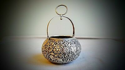 Fine Antique Anglo Indian Solid Silver Embossed Animal Design Sugar Basket