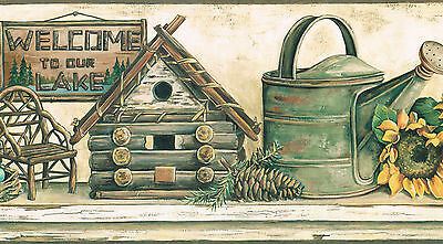 Country Sunflower Bird House Watering Can Hand Made Chair Wallpaper Border Wall