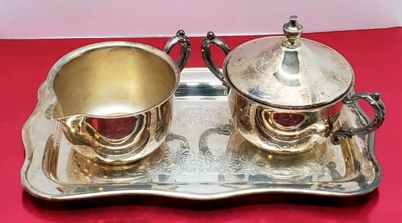 Vtg Sheridan Silversmith Silver Plate Creamer Dish Sugar Bowl & Tray Set USA