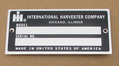 Id Serial Number Plate For Ih International 1568 1586 284 3088 3288 3388 3488