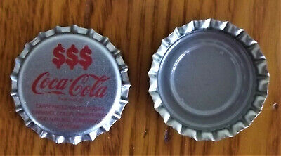 50 1980's Never Used Coca-Cola $$$ Silver Bottle Caps w/Display Case PROMO CAP