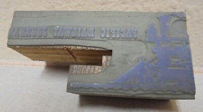Vintage Printing Letterpress Printers Block Cut Pacific Railway Journal Train