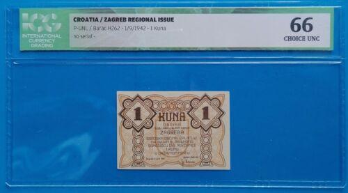 Yugoslavia, Croatia; 1 kuna 1942, Zagreb city money, WWII, ICG UNC 66 (SCARCE!)