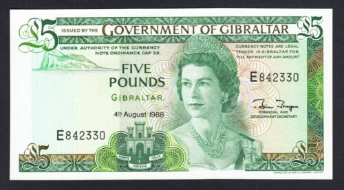 Gibraltar 5 Pounds  1988 UNC P. 21,  Banknote, Uncirculated