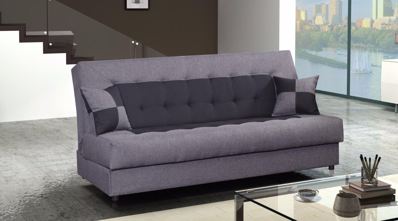 torino couch sofa 3sitzer mit kissen webstoff farbwahl schlaffunktion grau eur 209 00. Black Bedroom Furniture Sets. Home Design Ideas