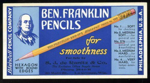 Vintage Blaisdell Company Ben Frankin Pencils Advertising Ink Blotter