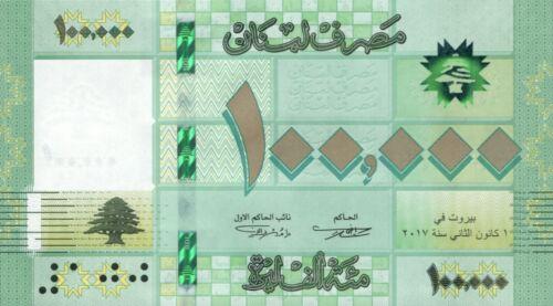 Lebanon 100,000 100000 Livres 2017 - 2018 Latest Issue UNC