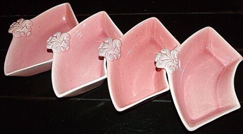 CALiF POTTERY J32 MCM 50s atomic pink Fleur de Lis Lazy Susan hor d