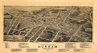 1891 RUGER & STONER, BIRD'S EYE VIEW OF DURHAM, NORTH CAROLINA, COPY POSTER MAP