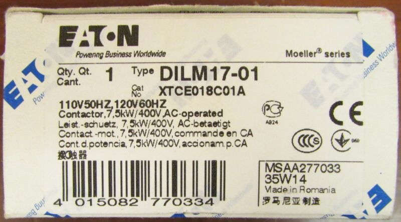 EATON KLOCKNER MOELLER DILM17 01 Contactor 3 Pole 110/120V XTCE018C01A DILM17-01