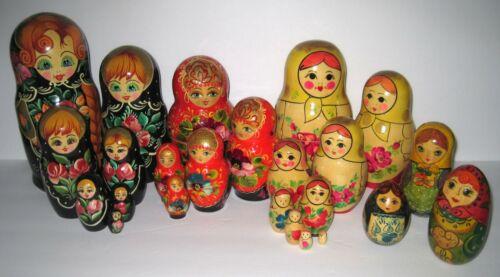 BUNDLED LOT Nesting Dolls Hand Painted Russian Folk Art