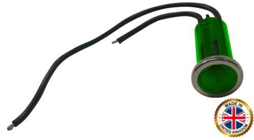 "5 Pack of Universal 12V Green Incandescent Indicator Light - Mounting Diam. 1/2"""