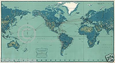 1956 VERY LARGE PAN AM AIRLINE ROUTE MAP PAN AMERICAN VINTAGE JET AGE