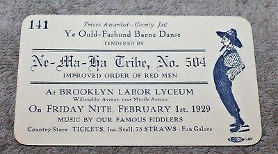 VINTAGE INVITE FOR OLD FASHION BARN DANCE BY NEMAHA TRIBE BROOKLYN NY 1929](Barn Dance Invitations)