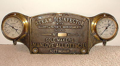 Large Brass Industrial Nameplate With 2 Gauges Machine Age Steampunk MAGNIFICENT