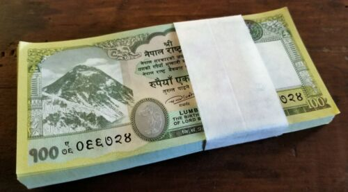 100 BUNDLE x 100 Nepal Rupee Bank Notes 2019 Mt. Everest, One Horned Rhino