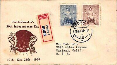 GP GOLDPATH: CZECHOSLOVAKIA COVER 1938 REGISTERED LETTER _CV669_P30