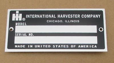 Id Serial Number Plate For Ih International 154 Cub Lo-boy 184 185 1026 1066