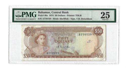 "1974 BAHAMAS $50 Dollars, P-40a Donaldson ""A"", PMG 25 VF, Very Rare QEII Type"