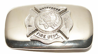 Vintage Hauppauge NY Fire Dept Firefighters Silver Tone Indian Head Belt Buckle
