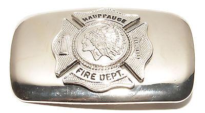 Vintage Hauppauge NY Fire Dept Firefighters Silver Tone Indian Head Belt Buckle