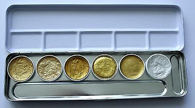 Aquarellfarbkasten 5x Gold 1 x Silber Malkasten für Goldretusche