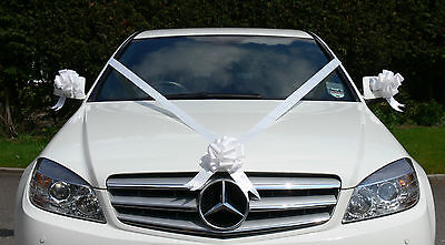 cars - WHITE Wedding Car Decoration Kit Large Bows & 7 Metres of Ribbon FAST & FREEPOST