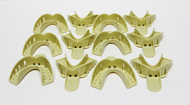 Dental Plastic Disposable Impression Trays Perforated Autoclavable LL #2 12 Pcs