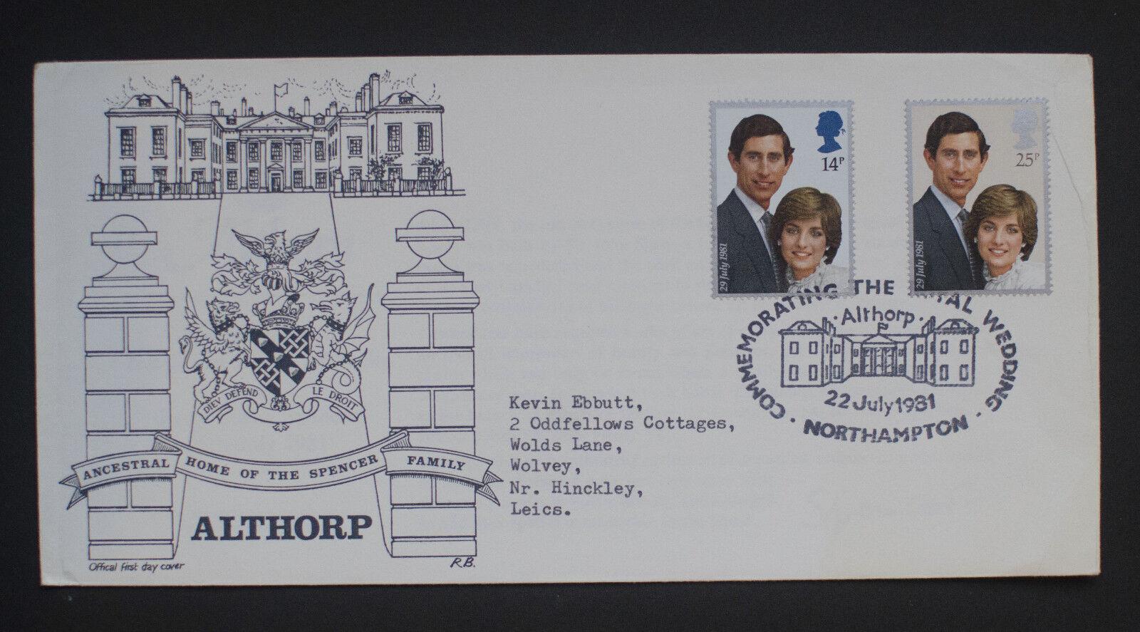 1981 Royal Wedding Althorp Northampton Official FDC