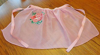 Vintage Women's Pink Organdy Apron Pocket Rose
