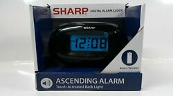 Sharp Travel Digital Alarm Clock Battery Power On Demand Back-light Ascending