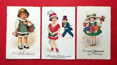 3 x Künstler Glückwunsch AK GEBURTSTAG 1930/34 Kinder - Kinder Mit Hüten