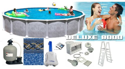 "24 Round 54"" Tall Saltwater Dlx Above Ground Salt Swimming Pool Complete Package"