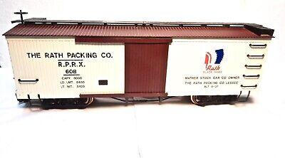 Bachmann Rath Packing Co. G Scale Woodside Billboard Boxcar w Metal Wheels-Nice!