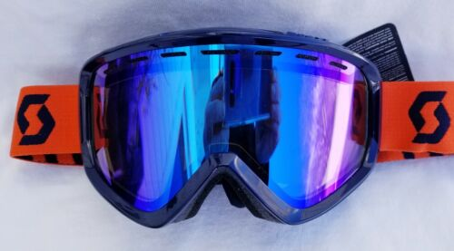NEW $90 RARE Scott Mens Level Snow Winter Ski goggles Blue Chrome Neon Orange