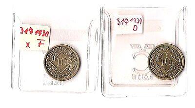 2 Münzen   J 317  1930 F / 1934 D   10 Pf    stgl - vzgl     T9 B23